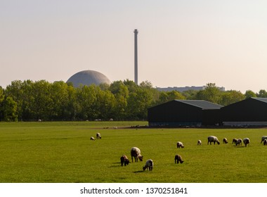 Decommissioned odl nuclear power plant in rural area of Germany.