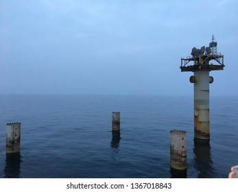 Decommissioned oil gas platform, North Sea