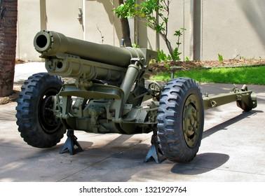 A decommissioned World War II cannon on display in Honolulu Hawaii