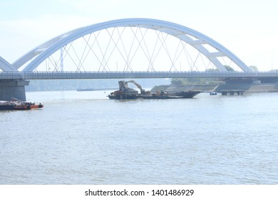 Decommissioning of the bridge on Danube river