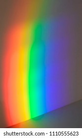 Decomposition of the white light when going through a prism, where you can see some colors of the visible spectrum: red, magenta, blue, green, yellow, orange.