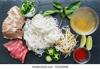 deconstructed pho laid out with all ingredients