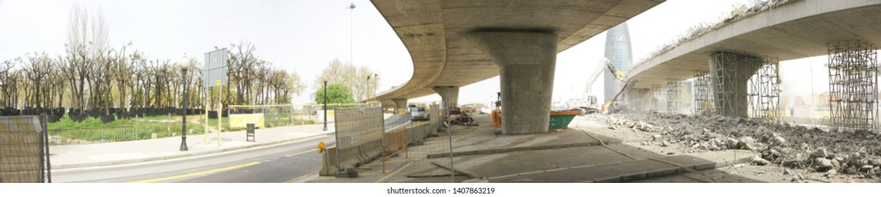 Deconstruction of the road ring of Les Glories in Barcelona, Catalunya, Spain, Europe