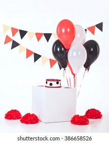Decor for baby's or child's Birthday party. Cake smash. Red, black and white colors