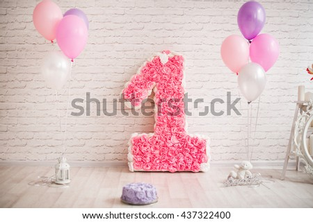 Decor First Birthday The Number 1 In Form Of A Pinata Pink 1st