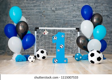 Decor of the first year of football, gates, balls and soccer balls