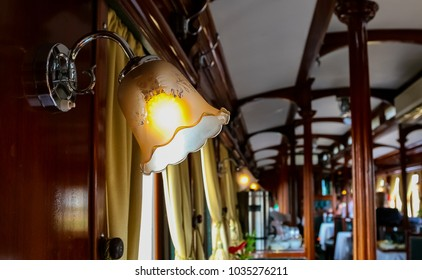Decor inside a old luxury steam train carriage dining car