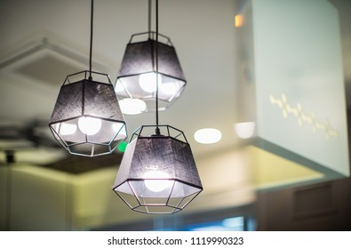 Decor in the modern interior of the cafe. Lamps floor lamps in restaurant