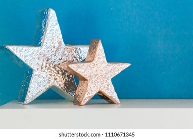 decor star on white table  with blue blackground