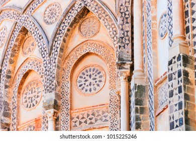 Decor of wall in Monreale Cathedral, Sicily, Italy