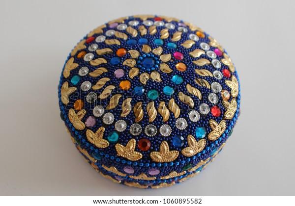 Decorate box. Jewelry box. Gift box decorate. Oriental colorful box.