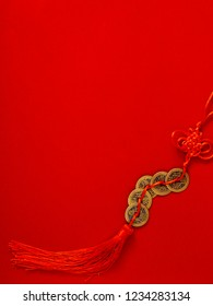 Decorate chinese new year 2019 on a red background(Chinese characters . FU. in the article refer to good luck, wealth, money flow) Empty space for design