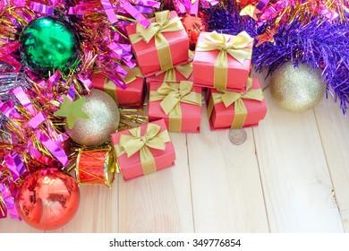 decorate Christmas festival on the wood floor
