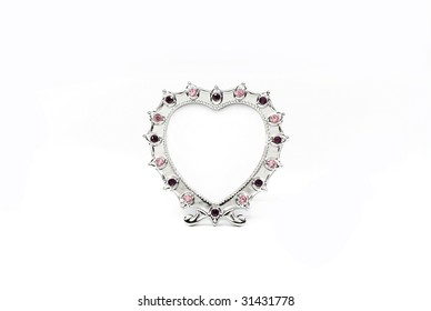Decorate frame, looks like heart, for photo on white background.
