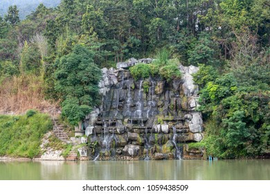 Decorate the waterfall in the natural landscape.