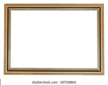 decorated ancient wooden picture frame with cut out canvas isolated on white background