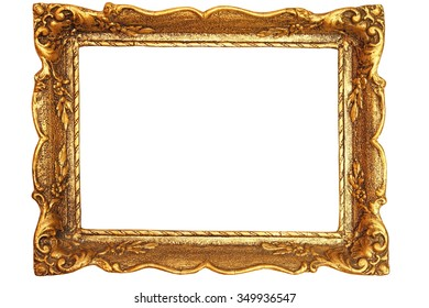 decorated antique painting frame isolated over white background with space for your design