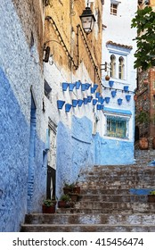 Decorated architecture in the medina of Chefchaouen in Morocco.