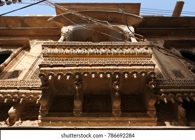 decorated balcony of a Haveli in Jaisalmer, Rajasthan, India