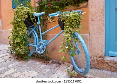 decorated bicycle in the historic old town of Rovinj in Croatia