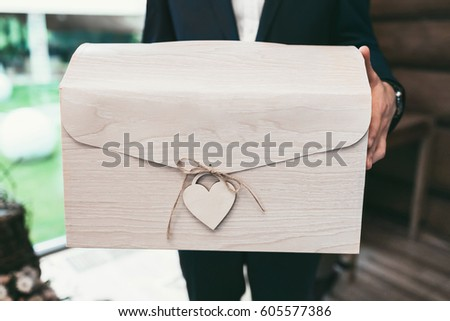 Decorated Big Wedding Gift Box Stock Photo Edit Now 605577386