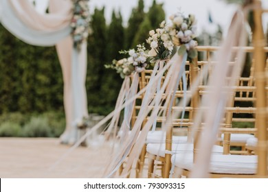 decorated bouquet of the bride in a chair