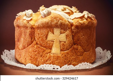 Decorated bread for celebration a saint in Orthodox faith. Serbian traditional and cultural heritage.