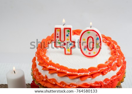 Decorated Cake With 40 Candle