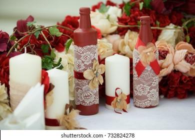 Decorated candle for wedding celebration
