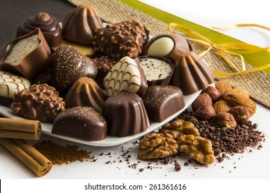 Decorated Chocolate Candy Plate