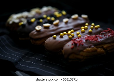 decorated chocolate eclair
