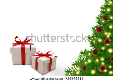 decorated christmas fir with two gift boxes on white background