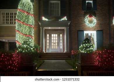 Decorated for Christmas house entrance. Christmas decor. Winter, Night, Houston, Texas,  United States