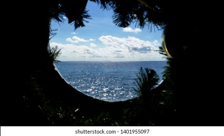 Decorated for christmas and a new year Holidays porthole at cruise ship with ocean View