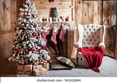 Decorated Christmas room with beautiful fir tree.