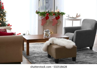 Decorated Christmas room with fireplace