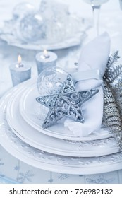 Decorated Christmas tablein blue tone