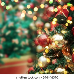 decorated Christmas tree  - Shutterstock ID 344446370