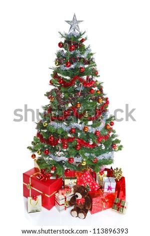 Decorated Christmas Tree Baubles Tinsel Surrounded Stock Photo Edit