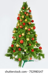 Decorated Christmas tree , card template. New year symbol