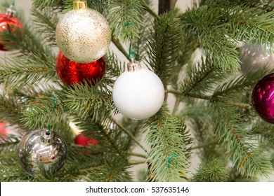 Decorated Christmas tree, Closeup decorated Christmas tree,