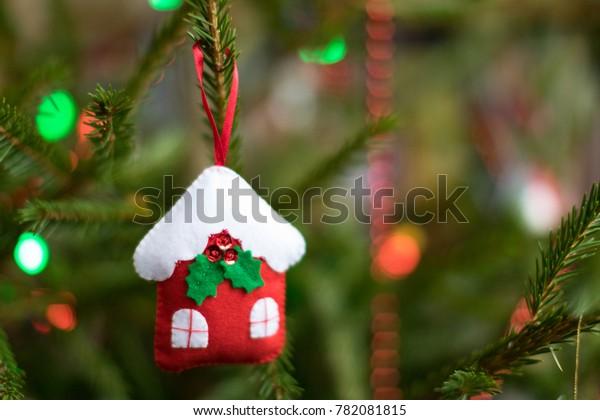 Decorated Christmas Tree Garland Beads Handmade Stock Photo Edit