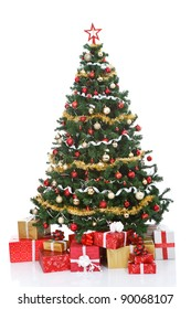 decorated Christmas tree and gift boxes, isolated on  white background