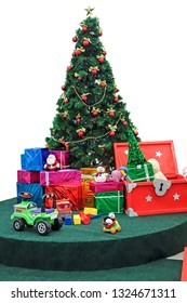 Decorated Christmas tree and New Year's gifts and toys