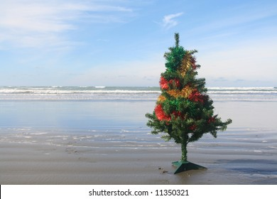 A decorated Christmas tree on a beach in New Zealand