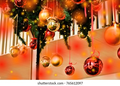 Decorated Christmas Tree On Blurred And Bokeh Background. Image Has Grain Or Blurry Or Noise And Soft Focus When View At Full Resolution.