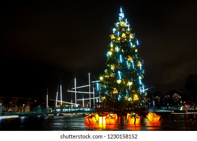 decorated Christmas tree on the city square
