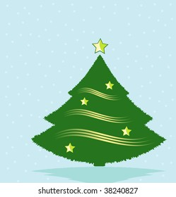 Decorated Christmas Tree on Snowy Background Illustration