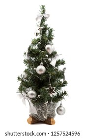 decorated christmas tree on the white background