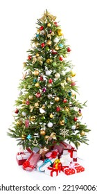 Decorated Christmas tree with presents under it isolated on white